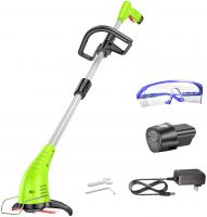 GardenJoy String Trimmer, 12V 2.0Ah Lithium-ion ,Cordless Trimmer with Cutting Blade, Adjustable Handle and Height for Weed Wacker,Yard and Garden